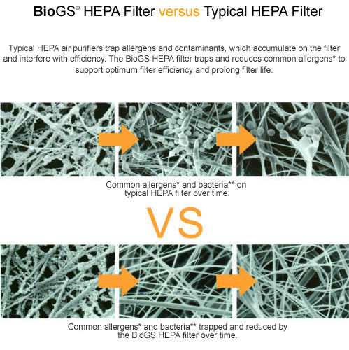 compare biogs hepa filter to conventional hepa filter